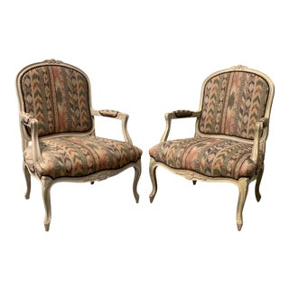 Vintage Bergère Chairs in Ikat Fabric- a Pair For Sale