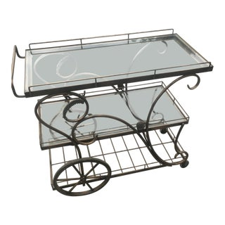 Art Nouveau Metal & Glass Tea Cart