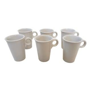 1980s Post Modern White Porcelain China Mugs by Homer Laughlin - Set of 6 For Sale
