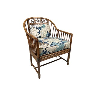 Bamboo Chair W Floral Upholstery For Sale