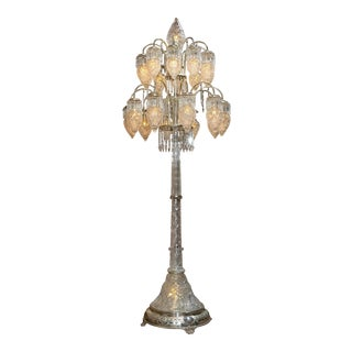 A Extremely Important American Cut Glass Floor Lamp For Sale