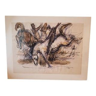 1990s Frank Perri Original Signed Watercolor Drawing For Sale