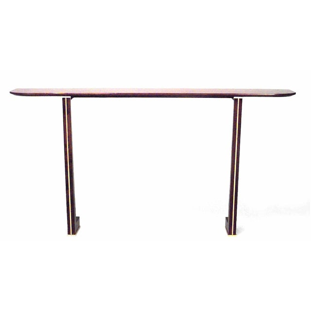 19th Century 1940s Vintage French Brass-Mounted Makore Veneered Console Table For Sale - Image 5 of 5