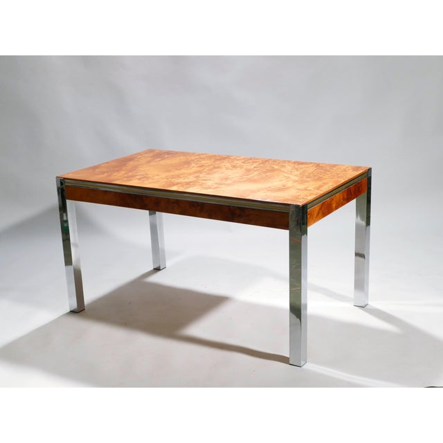 Willy Rizzo Willy Rizzo Burl Chrome Brass Dining Table, 1970s For Sale - Image 4 of 11