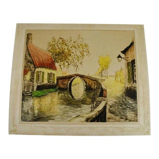 """Vintage 1933 Sidney Lucas European Village Scene Aquatint Etching Signed De Beauvais 25"""" X 21"""" For Sale"""
