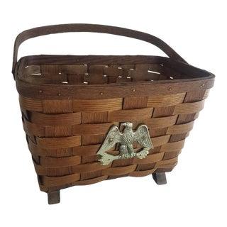 Vintage Wood Woven Basket With Eagle Emblem For Sale