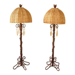 Wildwood Vine Twist Metal Lamps with Prisms - a Pair For Sale