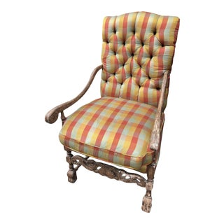 Silk Upholstered French Provincial Fauteuil a La Reine Chair For Sale