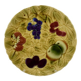 Sarreguemines French Majolica Mixed Fruit Round Serving Platter