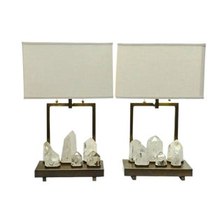 Mid Century Modern Natural Rock Crystal Brazilian Quartz Stone Point Designer Table Lamps For Sale