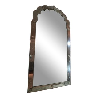 Antique Beveled Mirror With Etching and Mirror Bead Accents For Sale