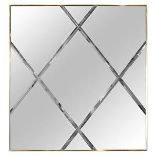 Mid Century Modern Brass Frame & Harlequin Pattern Beveled Glass Mirror