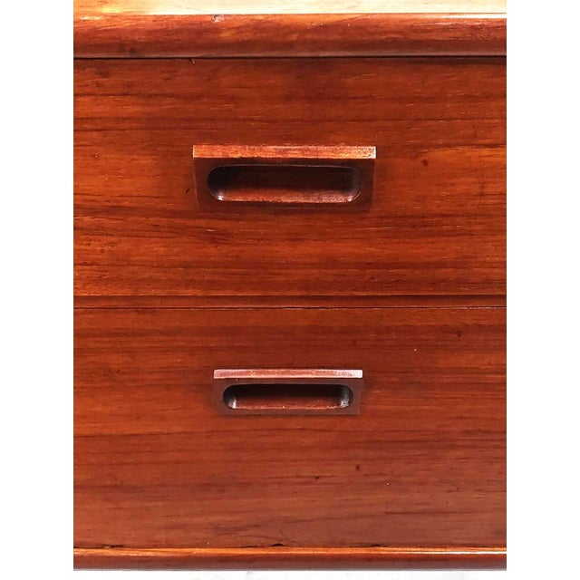 1960s Danish Modern Two Drawer Teak Table For Sale - Image 10 of 11