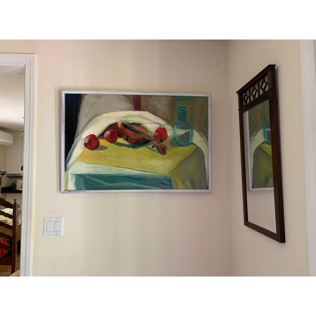 Abstract Violin and Fruit Still Oil Painting by Melba Juez-Perrone For Sale - Image 3 of 4