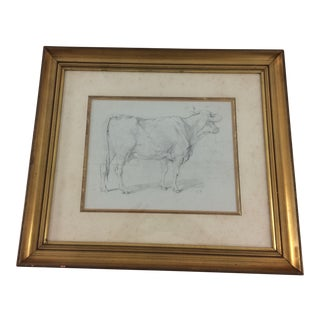 19th Century Pen and Ink Cow Drawing For Sale