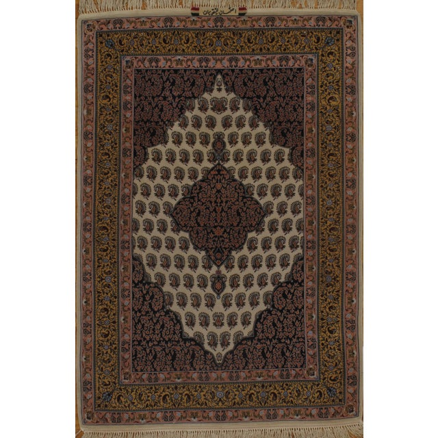 "Anglo-Indian Persian Isfahan Handmade Silk & Wool Rug - 3'8"" X 5'5"" For Sale - Image 3 of 3"