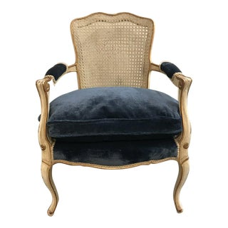 Mid-Century French Painted Louis XVI Style Caned Back Chair For Sale