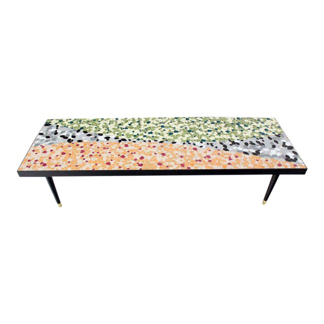 Green Mid-Century Modern Art Mosaic-Top Long Rectangular Table For Sale - Image 8 of 8