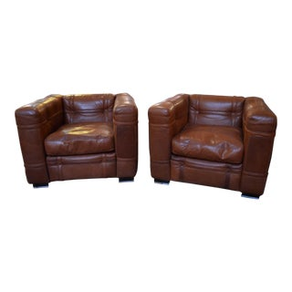 1970s Vintage Roche Bobois Leather Belted Club Chairs- A Pair For Sale