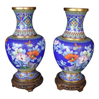Vintage Large Chinese Cloisonne Vases - a Pair