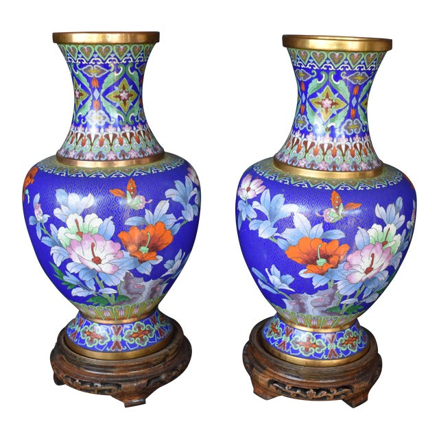 Vintage Large Chinese Cloisonne Vases A Pair Chairish