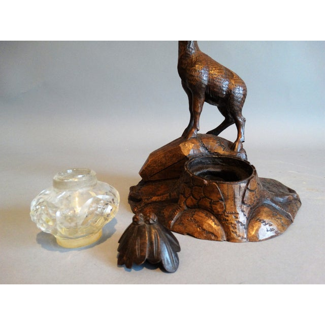Carved Black Forest Stag Inkwell For Sale - Image 5 of 7