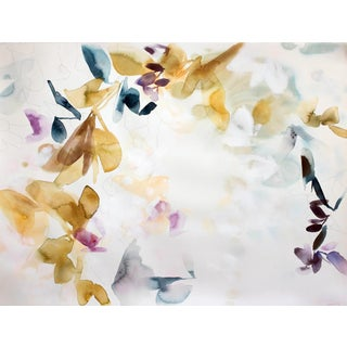 "Elise Morris ""Bright Terrain 1"" Abstract Floral Botanic Painting on Paper For Sale"