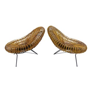 Sculptural Rattan Lounge Chair by Franco Albini For Sale