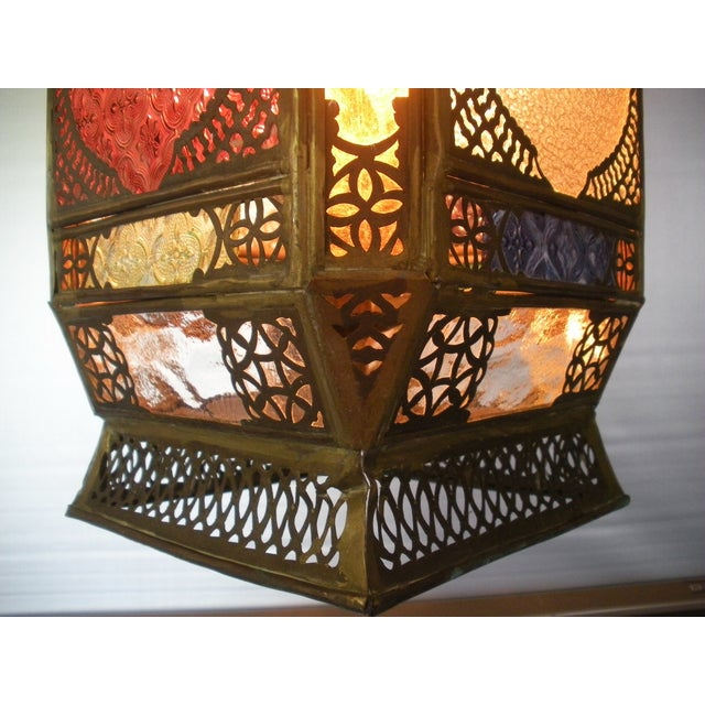 Moroccan Pierced Brass Hanging Lantern For Sale - Image 7 of 12
