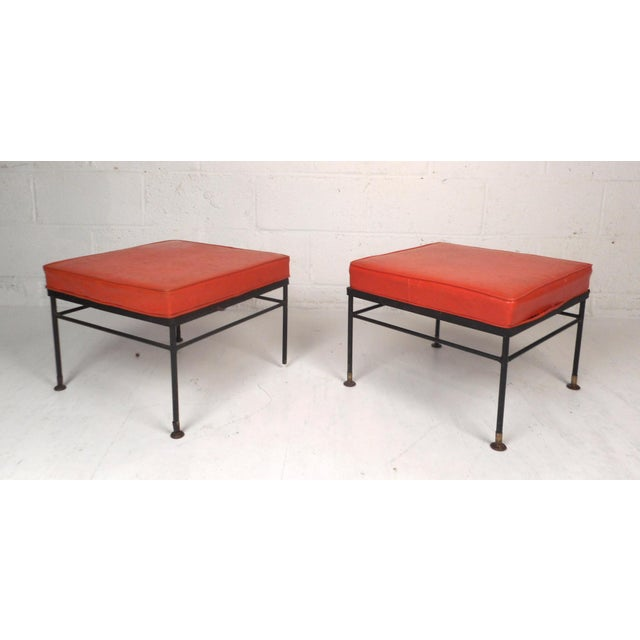 Mid-Century Modern Pair of Mid-Century Modern Foot Stools For Sale - Image 3 of 11