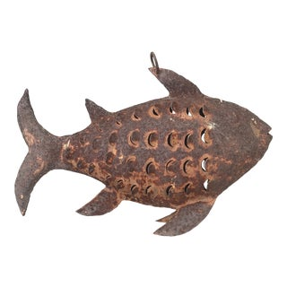 Vintage Rusty Metal Fish Folk Art Sculpture For Sale