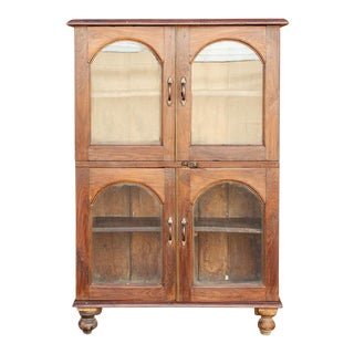 Antique Arch Door Teak Cabinet For Sale