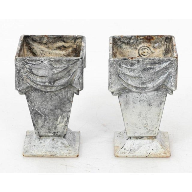 Neoclassical Style Cast Iron Vases With White Enamel Finish For Sale In New York - Image 6 of 7