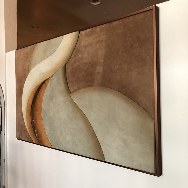 1970s Leather / Suede 3 dimensional Textile art signed by M. Sensual undulating curves, large scale, and raised areas...
