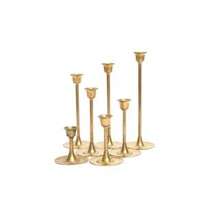 Vintage Brass Candle Holders - Set of 7