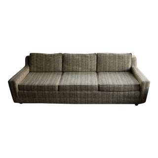 Mid-Century Low Profile Striped Tweed Sofa For Sale