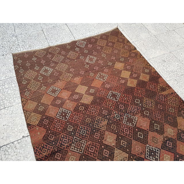 "Distressed Vintage Turkish Soumac Rug 4'2"" X 6'3"" For Sale In Dallas - Image 6 of 8"