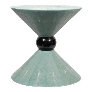 Post Modern Shagreen Hourglass Side Table For Sale