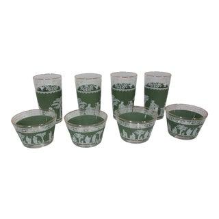 Vintage 1960s Jeanette Hellenic Glassware - 8 Pieces For Sale