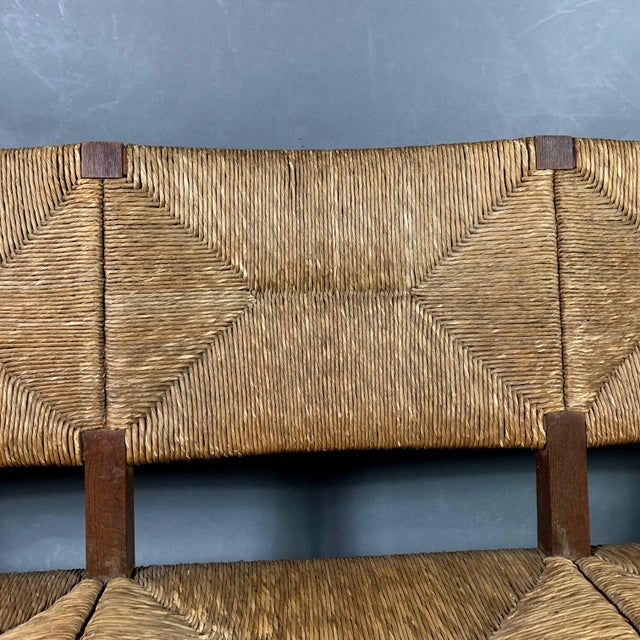 1940s Large 1940s Continental Woven Rush 3-Seat Settee For Sale - Image 5 of 13