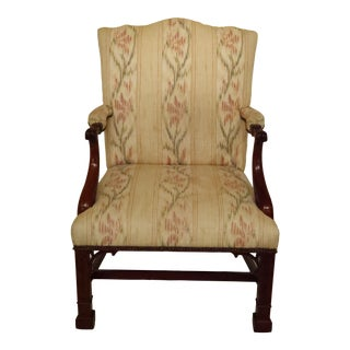 Baker Chippendale Carved Mahogany Open Arm Library Chair For Sale