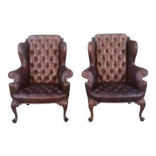 Distressed Tufted Wing-Back Leather Chairs For Sale