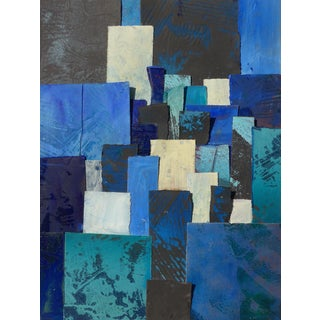 Blues V Mixed-Media Collage For Sale