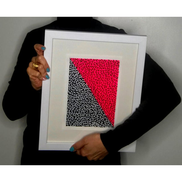 Framed Contemporary Abstract Neon Pink Painting For Sale - Image 4 of 6