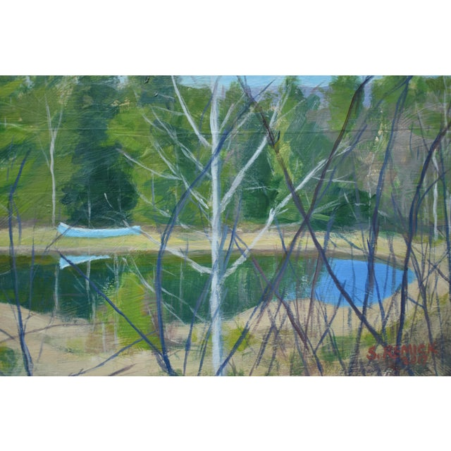 """2010s """"Canoe With Pond and Mountains"""" Original Stephen Remick Painting For Sale - Image 5 of 9"""