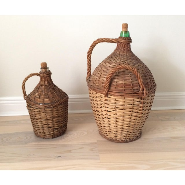 Cottage Vintage French Country Wicker Wrapped Demijohns With Handles - a Pair For Sale - Image 3 of 9