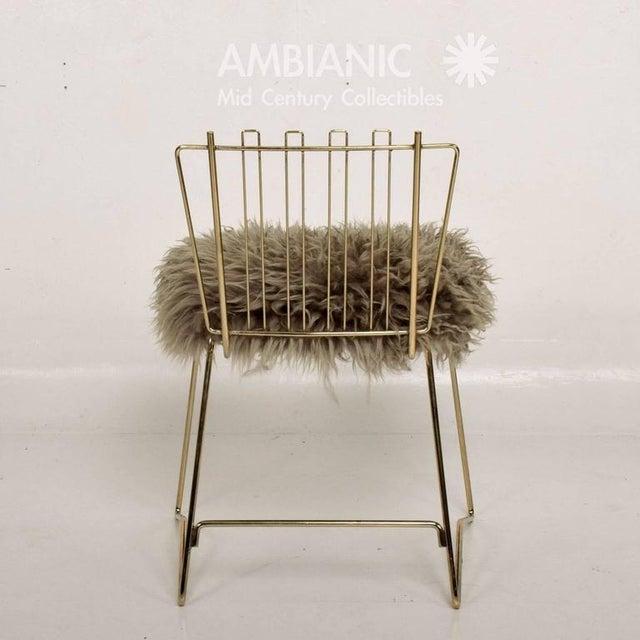 Mid-Century Modern Pr03 Folding Brass & Lambskin Chair For Sale - Image 3 of 9