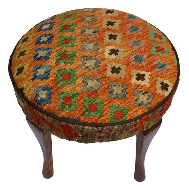 Arshs Crissy Orange/Blue Kilim Upholstered Handmade Ottoman For Sale - Image 4 of 8