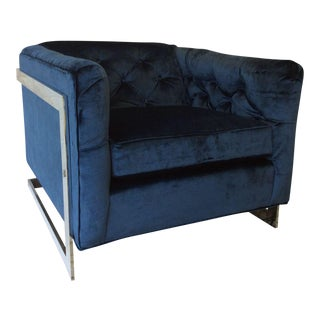 Reupholstered Cobalt Velvet Chrome-Framed Chair