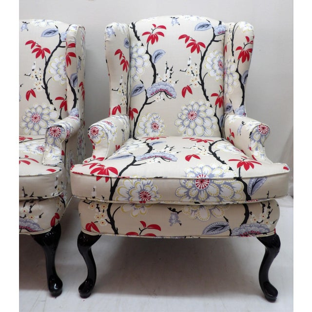 Spectacular Pair of Wingback Chairs -- this pair have been completely reinvented with new upholstery as well as black...